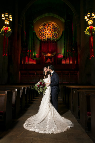 couple embrace fccla church wedding venue