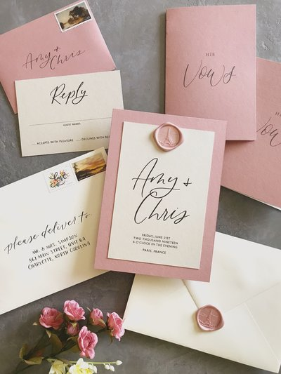 wax seal invitation seattle wedding