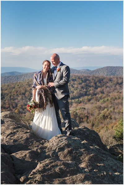 Bride and Groom looking out at mountain vista on their Virginia wedding day