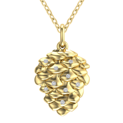 10k yellow gold classic pinecone necklace