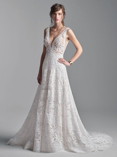 Vintage A-line Bridal Gown. It takes a little effort to look effortless. For those of such a chic and inimitable persuasion, we've designed this V-neck boho A-line bridal gown for both romance and sophistication.