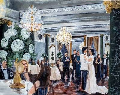 A bride and groom sharing their first dance during a live wedding painting at the Belvedere Hotel in Baltimore Maryland