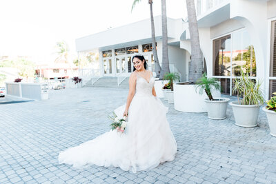 Bride with bouquet in St. Pete