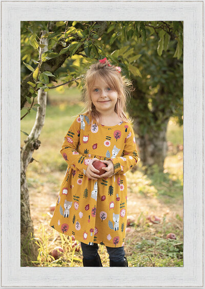 Apple Orchard Girl with Apple Framed