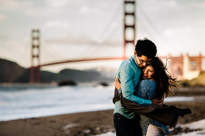 engagement session at China beach by stephane lemaire photography