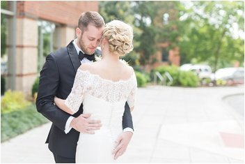 groom sees bride for first time before wedding at The Westin Poinsett