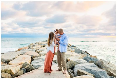 Family session at South Ponto Beach in Carlsbad