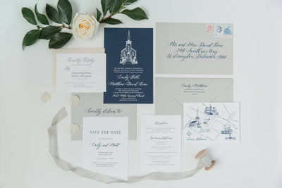 Blue and gray wedding invitation suite with custom calligraphy