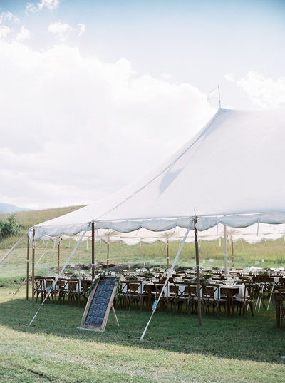 Sailcloth Tent for Luxury Ranch Montana Wedding in Red Lodge