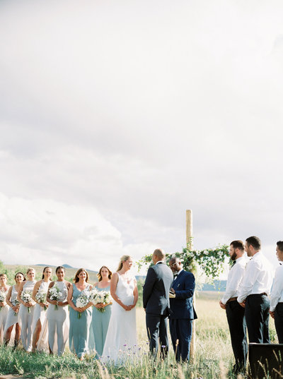 Wedding Ceremony on Bride's Family Ranch in Montana