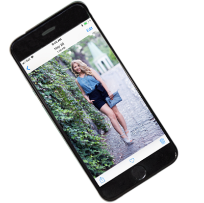 iPhone mockup with image of woman inside