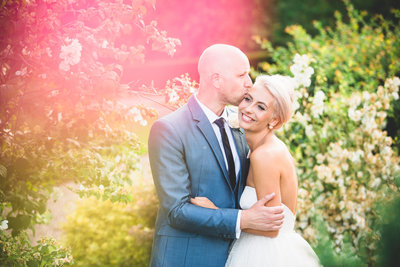 beautiful and natural wedding portrait with pinks and greens