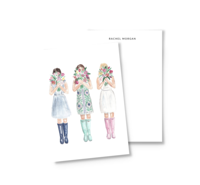 Girls with tulips personalized spring watercolor stationery