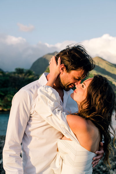 Honeymoon romantic images by Hawaii photographer Mariah Milan .