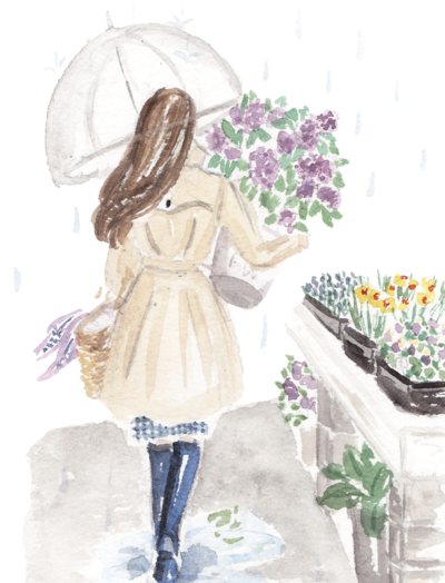 girl with lilacs spring watercolor fashion illustration