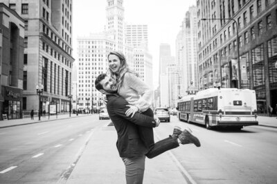 Downtown Chicago Mag Mile Trump Hotel Surprise Proposal Engagement Session Taylor Ingles Photography 47