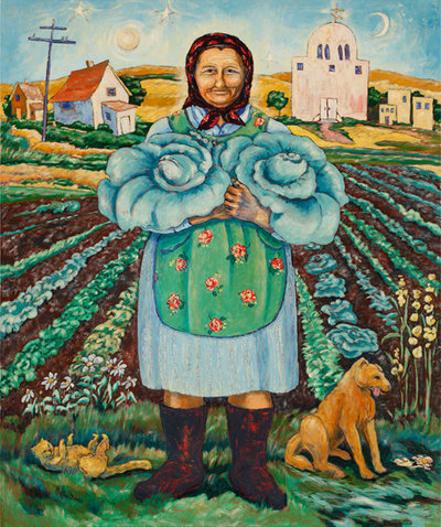 Oil Painting of a Baba in Babushka holding cabbages from her garden in front of her cottage farm house and church.