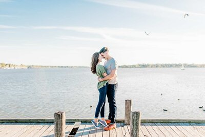 Dallas couple engagement session at lake