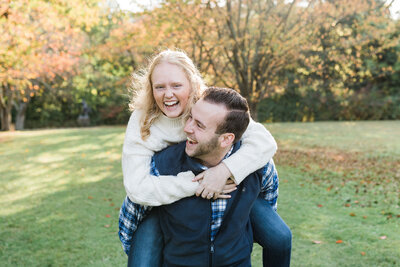 Casual fall engagement session at the New Jersey botanical gardens in Ringwood New Jersey