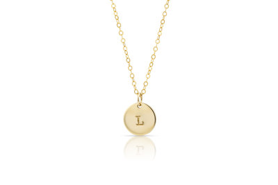 One Initial Disk Necklace