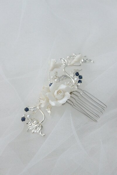 Alexa silver floral bridal comb with navy blue pearls and crystals 20