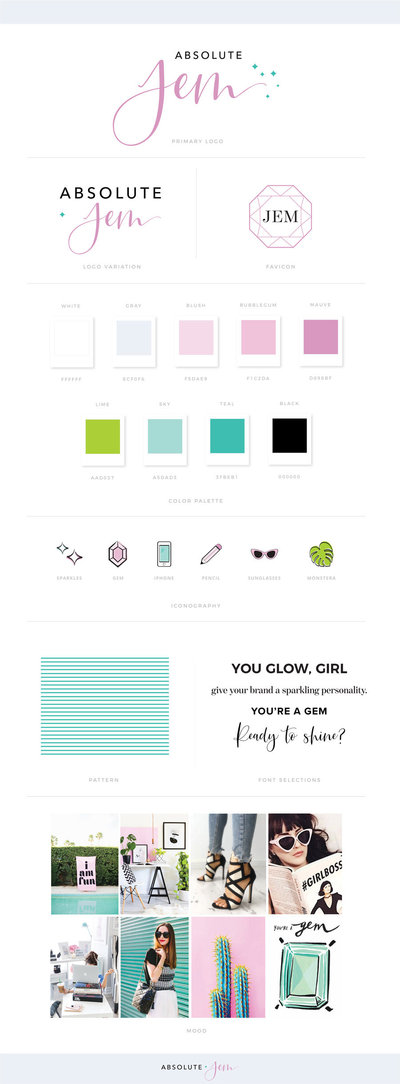 Absolute JEM Custom Brand Mood Board | Feminine Logo Design