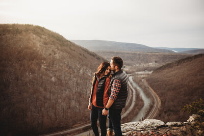 Engaged couple overlooking Western Maryland