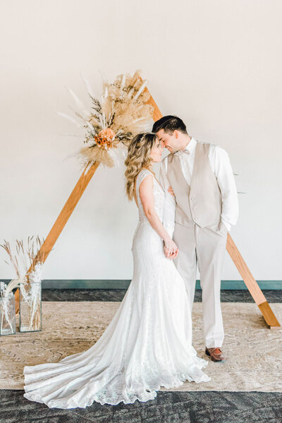 Boho Bride and Groom at the Soiree Room