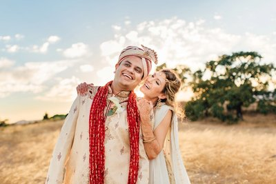 Wedding Photography, bride and groom in a field