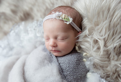 newborn baby with head band in photography studio
