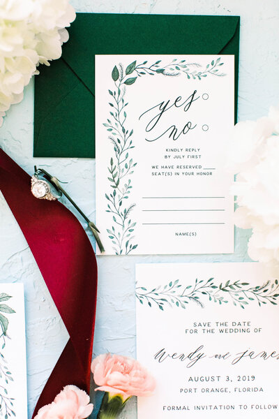 Painted leaves and greenery invitation suite