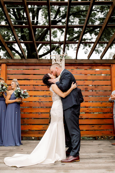 Bride & Groom's first kiss as husband and wife at Brookside Gardens