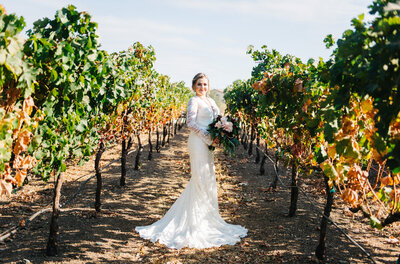 Bride in grape vine rows