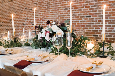 Burgundy romance with a modern rustic touch. Ft. Worth wedding planner