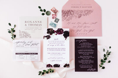 burgundy dusty pink wedding invitation