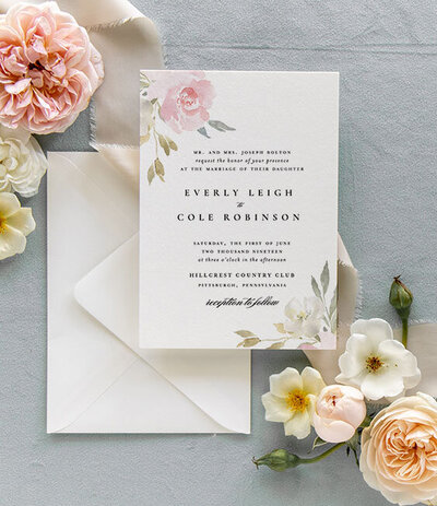 Classic Neutral Simple Wedding Invitation