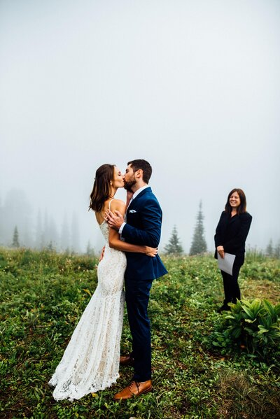 Mount Rainier Foggy Elopement photos taken by Seattle Elopement Photographer, Rebecca Anne.