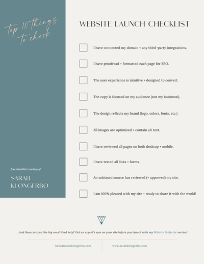 Website Launch Checklist | Sarah Klongerbo