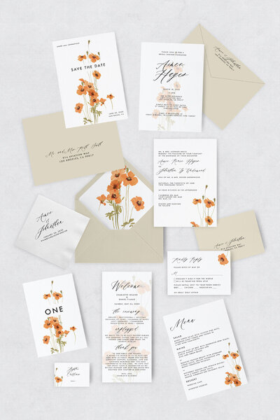 pirouettepaper.com | Wedding Stationery, Signage and Invitations | Pirouette Paper Company | Semi Custom Invitations | The Poppy 07