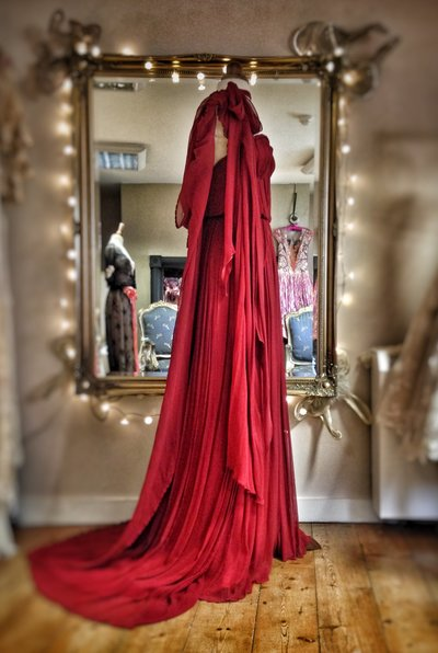 red_silk_chiffon_grecian_goddess_dress_hooded_cloak_JoanneFlemingDesign (1)