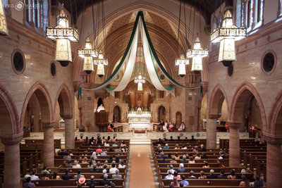 Holy-Ghost-Catholic-Church-Looking-out-from-Balcony-at-Wedding-Denver-Colorado