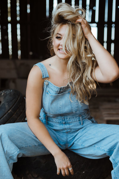 boudoir photoshoot in overalls