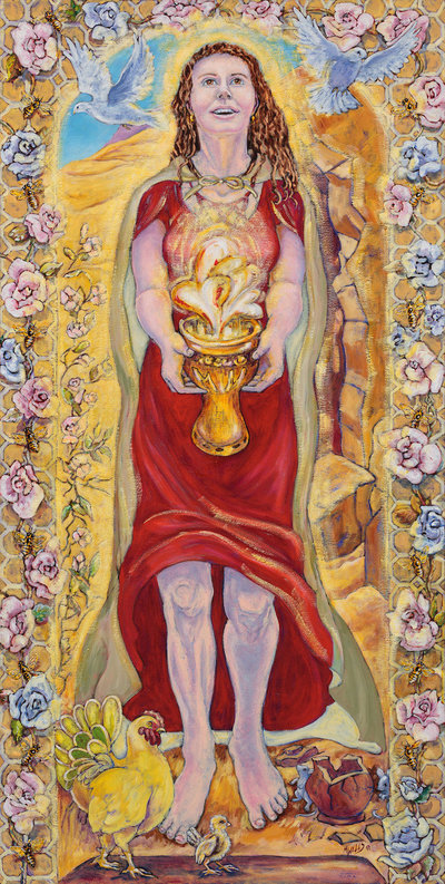 Oil painting of Mary Magdalene holding the Holy Grail, knowledge of the gift of the life and light, in joy.