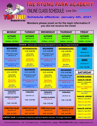 Juanuary Online Class Schedule social media version
