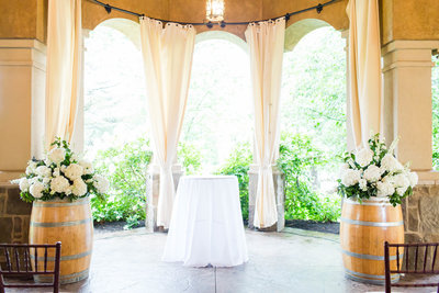 Ceremony decor at Gervasi Vineyard photographed by akron ohio wedding photographer
