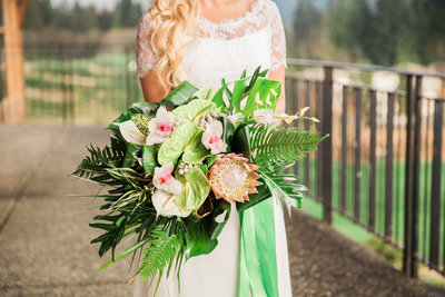 Pastel  Orchid and green Anthurium bridal bouquet
