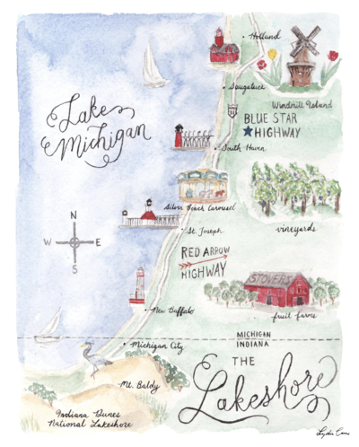 watercolor map southern michigan lakeshore