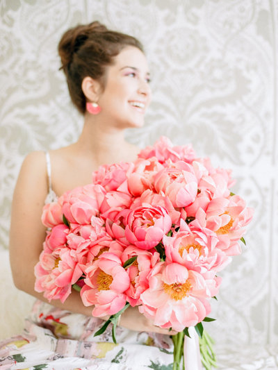 Giant bouquet of pink peonies
