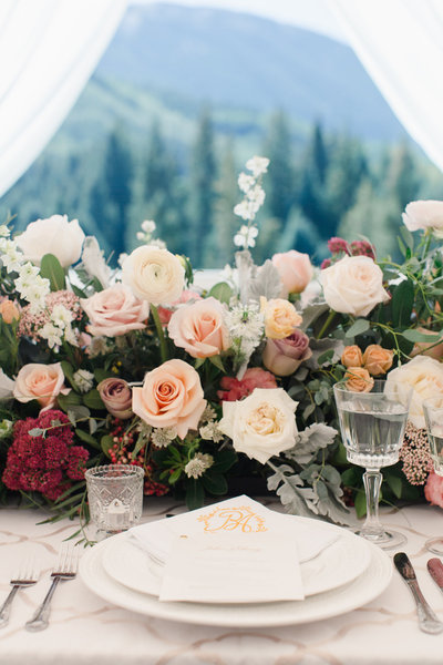 Beautiful tablescape in a tented reception, Knapp Ranch, Eagle, Colorado