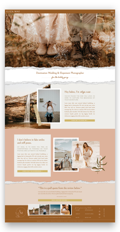 A website template page.